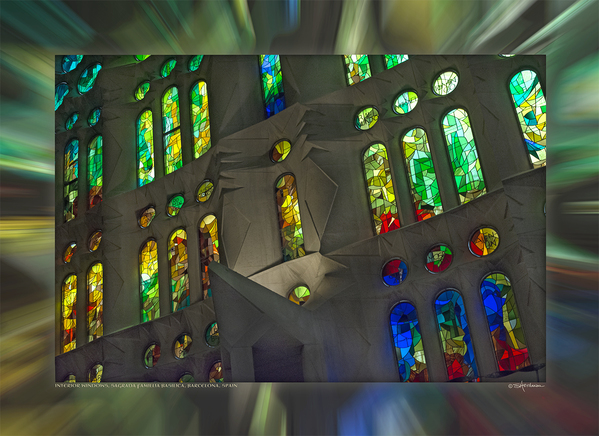 Interior Windows, Sagrada Familia Basilica, Barcelona, Spain
