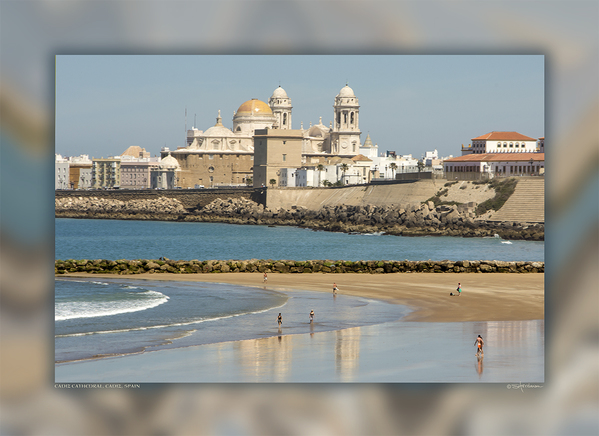 Playa La Caleta and Cadiz Cathedral, Cadiz, Spain