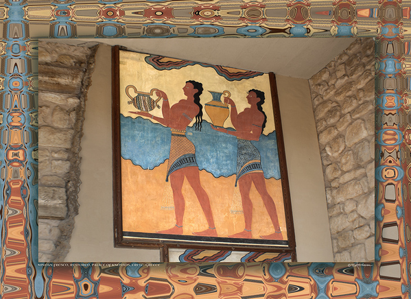 Minoan Fresco, Palace of Knossos, Island of Crete, Greece