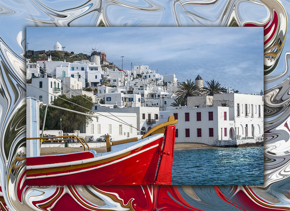 Red Boat & Windmills, Mykonos, Greece