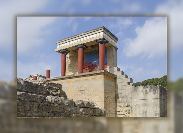 Restored North Entrance, Palace of Knossos, Island of Crete, Greece