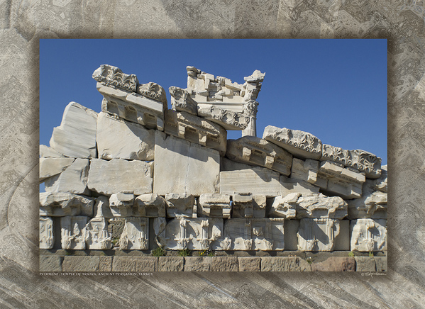 Pediment, Temple of Trajan, Pergamon, Turkey