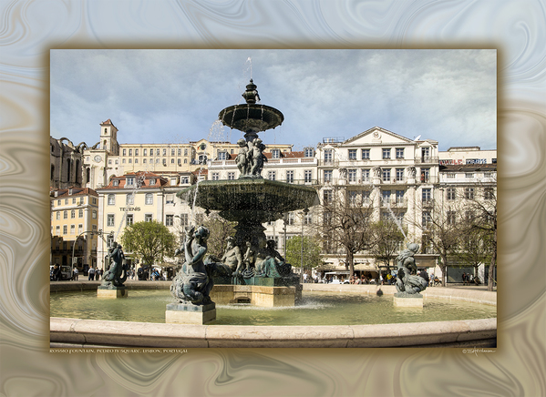 Rossio Fountain, Pedro IV Square, Lisbon, Portugal